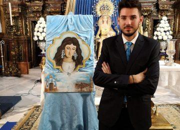 BAZA. Javier Mateos pinta un cartel pra Castilleja de la Cuesta