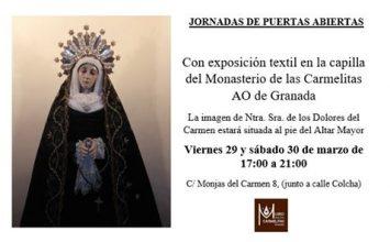 Expuesta la Virgen de los Dolores de las Carmelitas