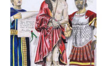 Alejandro Moreno pinta un cartel de Semana Santa