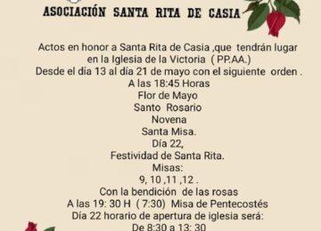 MOTRIL. Cultos a Santa Rita